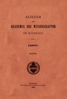 Anzeiger der Akademie der Wissenschaften in Krakau. No 3 März (1900)
