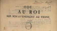 Ode Au Roi Sur Son Avenement Au Trone