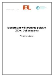 Modernizm w literaturze polskiej XX w. (rekonesans)