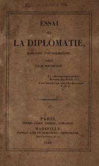 Essai sur la diplomatie : manuscrit d'Un Philhellène