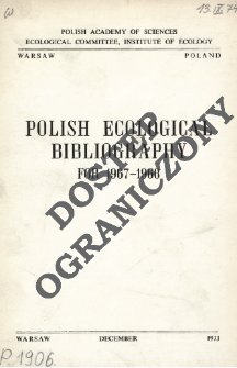 Polish Ecological Bibliography for 1967-1968 (1973)