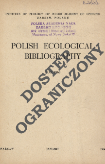 Polish Ecological Bibliography for 1960 (1964)