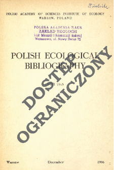 Polish Ecological Bibliography for 1963 (1966)