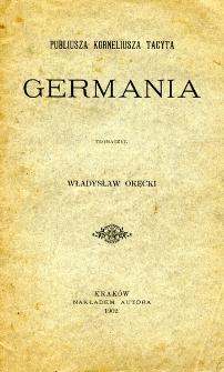 """Publiusza Korneliusza Tacyta """"Germania"""""""