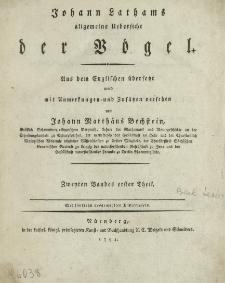 Johann Lathams allgemeine Uebersicht der Vögel. T. 2, cz. 1