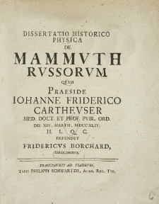 Dissertatio historico-physica de mammuth russorum