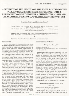 A revision of the genera of the tribe Platysomatini (Coleoptera: Histeridae: Histerinae). Pt. 2, Redescriptions of the genera, Theropatina Mazur, 1984, Microlister Lewis, 1905 and Platybletes Thérond, 1952