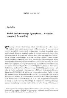 """Wokół druku ulotnego """"Epitaphium..."""" z czasów rewolucji francuskiej"""