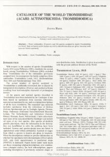 Catalogue of World Trombidiidae (Acari: Actinotrichida: Trombidioidea)