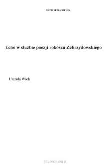 Echo w służbie poezji rokoszu Zebrzydowskiego