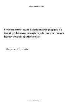 Siedemnastowieczne kalendarzowe poglądy na temat problemów zewnętrznych i wewnętrznych Rzeczypospolitej szlacheckiej