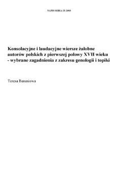 Konsolacyjne I Laudacyjne Wiersze żałobne Autorów Polskich Z