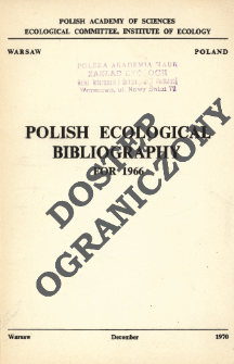 Polish Ecological Bibliography for 1966 (1970)