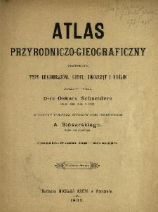 Atlas przyrodniczo-gieograficzny zawierający typy krajobrazów, ludzi, zwierząt i roślin