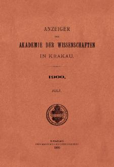 Anzeiger der Akademie der Wissenschaften in Krakau. No 7 Juli (1900)