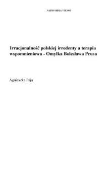"""Irracjonalność polskiej irredenty a terapia wspomnieniowa — """"Omyłka"""" Bolesława Prusa"""