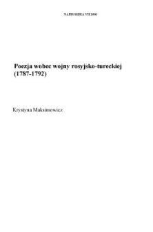 Poezja wobec wojny rosyjsko-tureckiej (1787-1792)