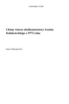 Ulotny wiersz okolicznościowy Leszka Kołakowskiego z 1973 roku