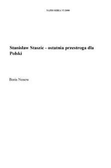 Stanisław Staszic - ostatnia przestroga dla Polski