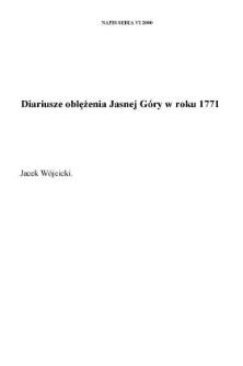 Diariusze oblężenia Jasnej Góry w roku 1771