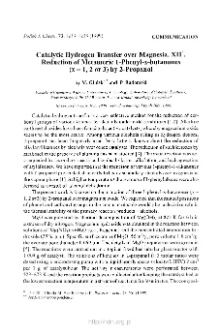Catalytic Hydrogen transfer over Magnesia. XII. Reduction of Metameric 1-Phenyl-x-butanones (x=1,2 or 3) by 2-Propanol