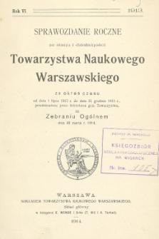 Sprawozdanie roczne ze stanu i działalności Towarzystwa Naukowego Warszawskiego....