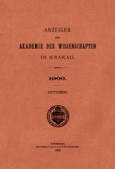 Anzeiger der Akademie der Wissenschaften in Krakau. No 8 Oktober (1900)