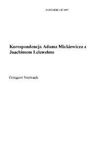 Korespondencja Adama Mickiewicza z Joachimem Lelewelem