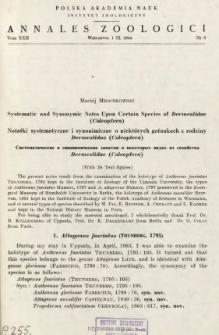 Systematic and synonymic notes upon certain species of Dermestidae (Coleoptera) = Notatki systematyczne i synonimiczne o niektórych gatunkach z rodziny Dermestidae (Coleoptera)