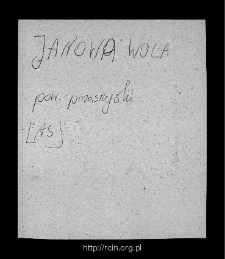 Janowa Wola. Files of Przasnysz district in the Middle Ages. Files of Historico-Geographical Dictionary of Masovia in the Middle Ages