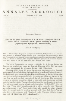 Notes on the genus Prosynapsis D. T. et KIEFF. (Synapsis FÖRST.), with a list of Anarcharis DALM. species occuring in Poland (Hymenoptera, Cynipoidea, Anacharitidae)