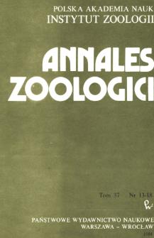Annales Zoologici - Strony tytułowe, spis treści, nr 13-18 (1984)