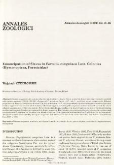 Emancipation of slaves in Formica sanguinea Latr. colonies (Hymenoptera, Formicidae)