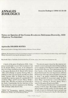 Notes on Species of the Genus Rondania Robineau-Desvoidy, 1830 (Diptera, Tachinidae)