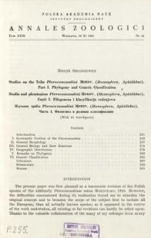 Studies on the tribe Pterocommatini MORDV. (Homoptera, Aphididae). Pt. 1, Phylogeny and generic classification = Studia nad plemieniem Pterocommatini MORDV. (Homoptera, Aphididae). Cz. 1, Filogeneza i klasyfikacja rodzajowa