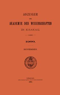 Anzeiger der Akademie der Wissenschaften in Krakau. No 9 November (1900)