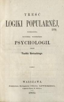Treść logiki popularnéj poprzedzonej krótkim wykładem psychologii