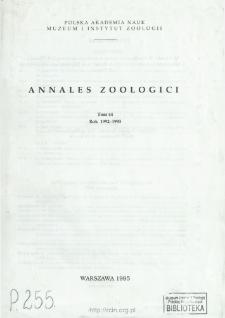 Annales Zoologici - Strony tytułowe, spis treści - t. 44 (1992-1993)