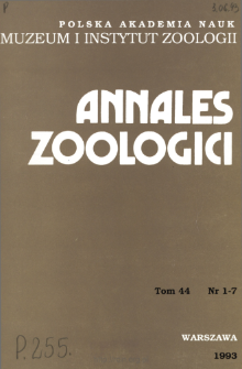 Annales Zoologici - Strony tytułowe, spis treści - t. 44, nr. 1-7 (1993)