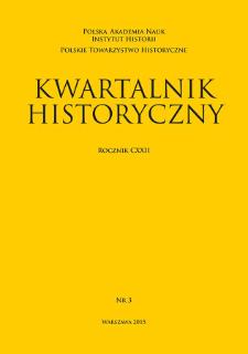 Kwartalnik Historyczny R. 122 nr 3 (2015), Strony tytułowe, spis treści