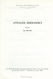 Annales Zoologici - Strony tytułowe, spis treści - t. 41 (1987-1988)