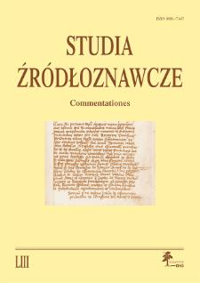 Studia Źródłoznawcze = Commentationes T. 53 (2015), Title pages, Contents