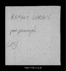Romany Górskie, now part of a village Romany-Sebory. Files of Przasnysz district in the Middle Ages. Files of Historico-Geographical Dictionary of Masovia in the Middle Ages