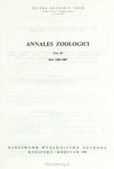 Annales Zoologici - Strony tytułowe, spis treści - t. 42 (1988-1989)