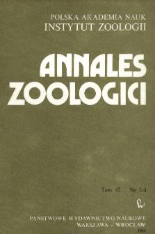 Annales Zoologici - Strony tytułowe, spis treści - t. 42, nr. 3-4 (1988)