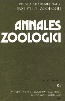 Annales Zoologici - Strony tytułowe, spis treści - t. 42, nr. 9-11 (1989)