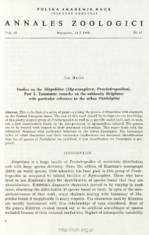 Studies on the Diapriidae (Hymenoptera, Proctotrupoidea). Part 1. Taxonomomic remarks on the subfamily Belytinae with particular reference to the tribus Pantolytini