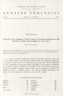 Comments on the Catalogue of MEYRICK Types of Tortricidae (Lepidoptera) in the Museum of Vienna with Descriptions of New Genera