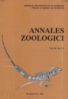 Annales Zoologici - Strony tytułowe, spis treści - t. 46, nr. 1-2 (1996)