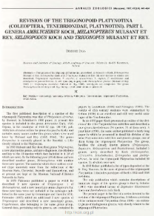 Revision of the trigonopoid Platynotina (Coleoptera, Tenebrionidae, Platynotini). Part 1, Genera Amblychirus Koch, Melanopterus Mulsant and Rey, Selinopodus Koch and Trigonopus Mulsant et Rey